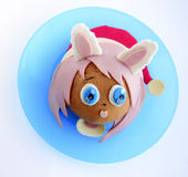Sandwich in the form of the girl`s head in Santa`s cap. Stock Photography