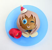 Sandwich in the form of the girl`s head in Santa`s cap. Royalty Free Stock Photos