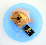 Sandwich in the form of the pirate`s head Stock Image