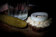 Sandwich with (forshmak) minced herring and glass of vodka Stock Image