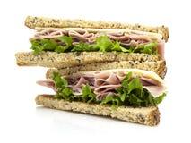 Sandwich frais à coupe avec de la salade de jambon Image libre de droits
