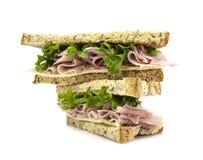 Sandwich frais à coupe avec de la salade de jambon Photo stock
