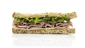 Sandwich frais à coupe avec de la salade de jambon Photos libres de droits