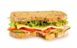 Sandwich frais mordu sur le fond blanc image libre de droits