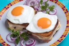 Sandwich français à Madame de croque photographie stock libre de droits