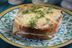 Sandwich français à Monsieur de croque photo libre de droits