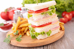Sandwich and french fries Royalty Free Stock Photography