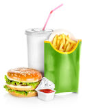 Sandwich with french fries isolated Royalty Free Stock Photography