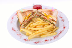 Sandwich and french fries Royalty Free Stock Photos