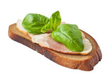 Sandwich with fresh basil and bacon.  Royalty Free Stock Photos