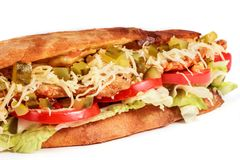 Sandwich from fresh pita bread with fillet grilled chicken, lettuce, slices of fresh tomatoes. Pickles and cheese on white background stock photo