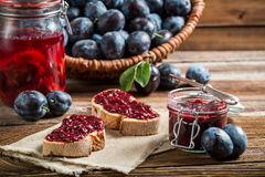 Sandwich with fresh plum jam Stock Image
