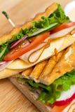 Sandwich. Fresh Sandwich with turkey, tomato, cucumber royalty free stock photos