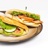 Sandwich. Fresh Sandwich with turkey, tomato, cucumber stock image