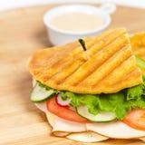 Sandwich. Fresh Sandwich with turkey, tomato, cucumber stock images
