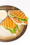 Sandwich. Fresh Sandwich with turkey, tomato, cucumber stock photo