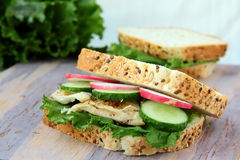 Sandwich with fresh vegetables and chicken Stock Photo