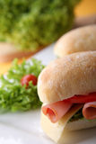Sandwich with fresh vegetables, ham and cheese Royalty Free Stock Images