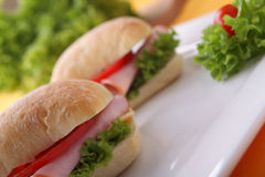 Sandwich with fresh vegetables, ham and cheese Stock Photo