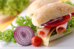Sandwich with fresh vegetables, ham and cheese Stock Photography