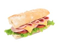 Sandwich from freshly cut baguette. Royalty Free Stock Image