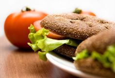 Sandwich with Freshness Vegetables. Tomato and Lettuce Royalty Free Stock Photos