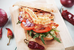 Sandwich with fried bacon Royalty Free Stock Photo