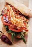 Sandwich with fried bacon Royalty Free Stock Photos