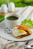 Sandwich with a fried egg and mug of soup. Sandwich with a fried egg and a mug of soup on a white plate with lettuce and green onions decorated with textile Royalty Free Stock Photo