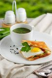 Sandwich with a fried egg, parsley leaves and mug. Sandwich with a fried egg, parsley leaves and a mug of soup on a white plate, decorated with a textile napkin Stock Image