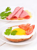 Sandwich with fried egg, tomato slices and parsley Stock Photos