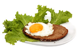 Sandwich with a fried egg on a white plate Royalty Free Stock Image