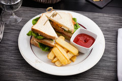 Sandwich with fried eggs Stock Photography