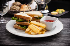 Sandwich with fried eggs Stock Images