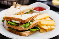 Sandwich with fried eggs Royalty Free Stock Images