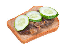 Sandwich with fried meat and cucumbers Stock Photos