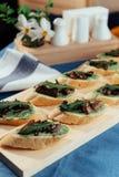 Sandwich with fried mushrooms. Advertising shooting menu Royalty Free Stock Photo