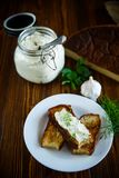 Sandwich of fried toasts with garlic melted cheese Royalty Free Stock Images