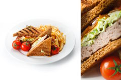Sandwich with fries. Delicious toasted sandwich served on a white plate with fries and fresh red cherry tomatoes royalty free stock photos