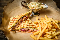 Sandwich with fries Royalty Free Stock Image