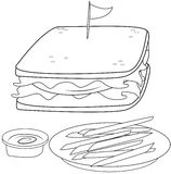 Sandwich and fries coloring page Stock Photography