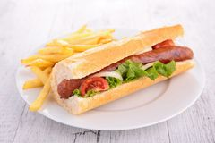 Sandwich and fries Royalty Free Stock Photography