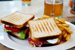 Sandwich and fries Royalty Free Stock Images