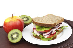 Sandwich and fruit. Stock Image