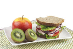 Sandwich and fruit. Royalty Free Stock Photos