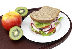 Sandwich and fruit. Royalty Free Stock Images