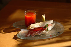 Sandwich and fruit juice. Snack sandwich and fruit juice stock photography