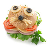 Sandwich with funny animal face.  royalty free stock images