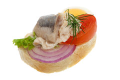 Sandwich garnish with fish Royalty Free Stock Photography