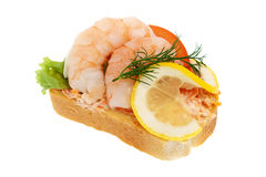 Sandwich garnish with shrimps Royalty Free Stock Images